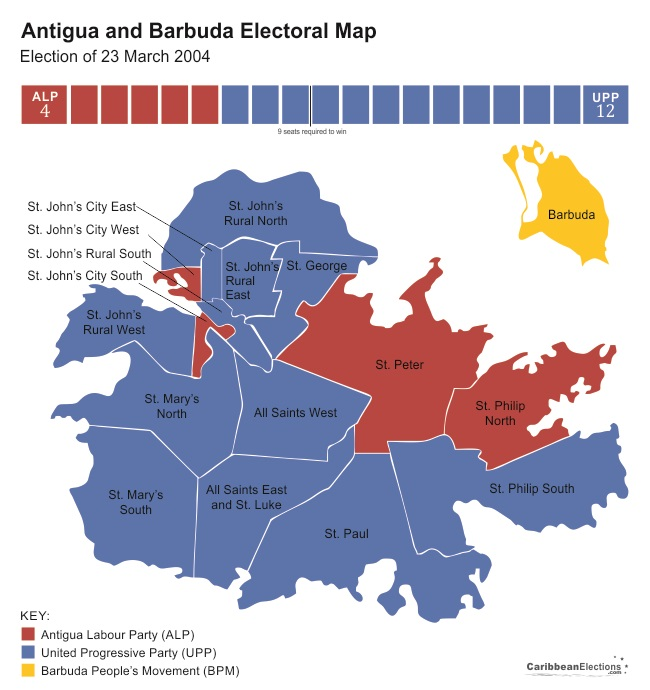 Antigua and Barbuda General Election Results 2004