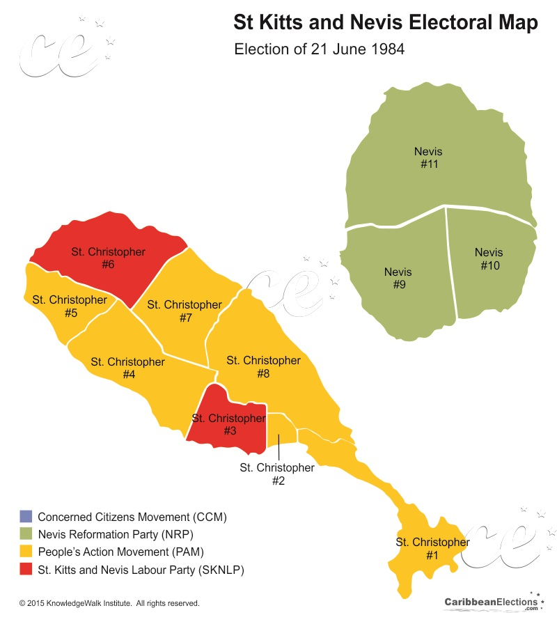 St Kitts and Nevis General Election Results 1984 on