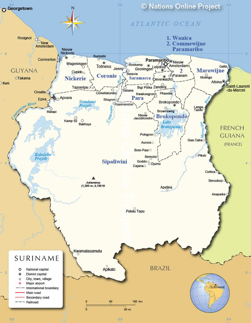 Electoral Districts In Suriname - Brazil election map